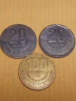 LOT OF 3 COSTA RICA COINS 100 20 COLONES 1983 1985 1997