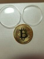 BITCOIN GOLD PLATED PHYSICAL COLLECTIBLE COIN IN PLASTIC COMMEMORATIVE CASE