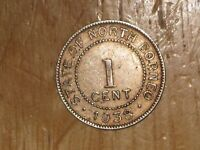 BRITISH NORTH BORNEO 1938 H CENT COIN FINE NICE