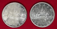 UNCIRCULATED LOT OF 2 1966 CANADIAN SILVER DOLLAR COINS UNC