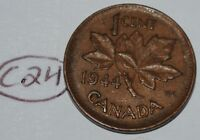 CANADA 1944 1 CENT COPPER COIN ONE CANADIAN PENNY LOT C24