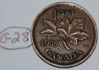 CANADA 1937 1 CENT COPPER COIN ONE CANADIAN PENNY LOT G28