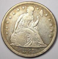 1843 SEATED LIBERTY SILVER DOLLAR $1 - EXTRA FINE  DETAILS -  EARLY TYPE COIN