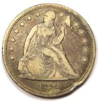 1846 SEATED LIBERTY SILVER DOLLAR $1 - VF DETAILS -  EARLY TYPE COIN