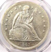 1843 SEATED LIBERTY SILVER DOLLAR $1 COIN - CERTIFIED PCGS EXTRA FINE 45 EF45 - NEAR AU