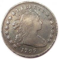 1795 DRAPED BUST SILVER DOLLAR $1 - VG DETAILS CLEANED / SMOOTHED -  COIN
