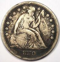 1870-CC SEATED LIBERTY SILVER DOLLAR $1 - VF DETAILS -  CARSON CITY COIN