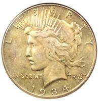 1934-S PEACE SILVER DOLLAR $1 - CERTIFIED ANACS AU DETAILS -  DATE IN AU
