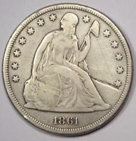 1861 SEATED LIBERTY SILVER DOLLAR $1 - VF DETAILS -  DATE - CIVIL WAR COIN
