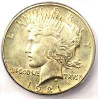 1921 PEACE SILVER DOLLAR $1 - CERTIFIED ICG AU53 -  KEY DATE COIN