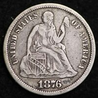 1876-CC SEATED LIBERTY DIME CHOICE EXTRA FINE  SHIPS FREE E187 KET