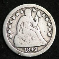 1849-O SEATED LIBERTY DIME CHOICE G SHIPS FREE E279 GNH