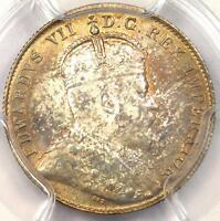 1902 H CANADA 10 CENT PIECE  10C    PCGS MS63 PQ    RAINBOW TONED BU COIN