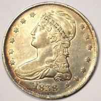 1838 CAPPED BUST HALF DOLLAR 50C - SHARP DETAILS -  LUSTER -  COIN