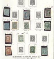 CONFEDERATE STATES OF AMERICA  ASSORTMENT OF STAMPS HINGED/MOUNTED ON A PAGE
