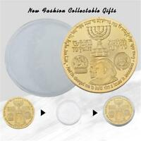 ISRAEL TRUMP GOLD PLATED COMMEMORATIVE NOVELTY COIN  COIN CASE COLLECTION GIFTS