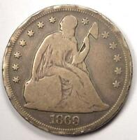 1869 SEATED LIBERTY SILVER DOLLAR $1 - VG DETAILS -  EARLY TYPE COIN
