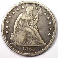 1864 SEATED LIBERTY SILVER DOLLAR $1 - VF DETAILS PLUGGED - CIVIL WAR COIN
