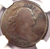 1808/7 DRAPED BUST HALF CENT 1/2C - NGC VG DETAILS -  EARLY OVERDATE COIN