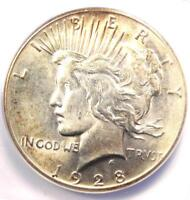 1928 PEACE SILVER DOLLAR $1 - CERTIFIED ANACS MINT STATE 61 1928-P DATE - $504 VALUE
