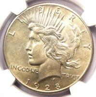 1928 PEACE SILVER DOLLAR $1 - NGC UNCIRCULATED DETAIL -  1928-P MS UNC COIN