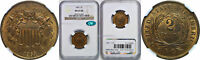 1865 TWO CENT PIECE NGC MINT STATE 65 RB CAC