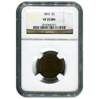 CERTIFIED TWO CENT 1872 VF25BN NGC