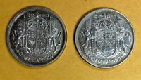 LOT OF 2 1955 CANADIAN SILVER HALF DOLLAR 50 CENT QUARTER CO