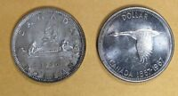 LOT OF 2 1966 & 1967 CANADIAN SILVER DOLLAR $1 COINS AUNC TO