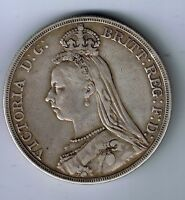 1889 VICTORIA STERLING SILVER CROWN   FIVE SHILLING  COIN