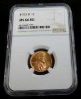 1953 D LINCOLN CENT NGC MINT STATE 66 RD