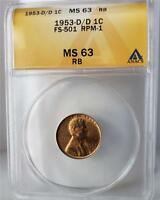 1953-D LINCOLN CENT -RPM-001 FS-501 -ANACS MINT STATE 63RB - CONECA TOP-100 CHERRYPICKERS