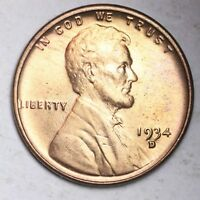1934-D LINCOLN WHEAT SMALL CENT GEM BU RED SHIPS FREE E210 KEP