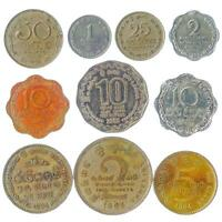10 DIFFERENT SRI LANKAN COINS. SOUTH ASIA ISLAND. OLD COLLECTIBLE MONEY RUPEES