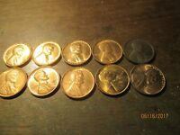 LOT OF UNC. - BU LINCOLN WHEAT CENTS 1928, 1936, 1941, 1942D, 1954S, 1955S