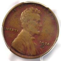 1914-D LINCOLN WHEAT CENT 1C - PCGS VF DETAILS -  KEY DATE CERTIFIED PENNY