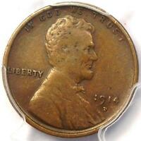 1914-D LINCOLN WHEAT CENT 1C - PCGS VF30   FINE -  KEY DATE PENNY