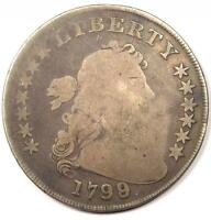 1799/8 DRAPED BUST SILVER DOLLAR $1 - GOOD DETAILS  -  OVERDATE COIN
