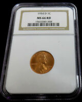 1954- D LINCOLN CENT NGC MINT STATE 66 RD