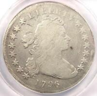 1796 SMALL EAGLE DRAPED BUST SILVER DOLLAR $1 COIN - CERTIFIED ANACS VG8 DETAIL