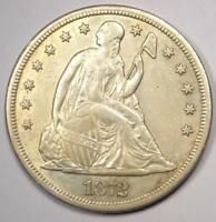 1872-S SEATED LIBERTY SILVER DOLLAR $1 - AU DETAILS -  KEY DATE