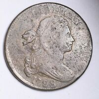 1798 DRAPED BUST LARGE CENT VF DETAIL SHIPS FREE E143 GPT