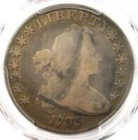 1799 DRAPED BUST SILVER DOLLAR $1 - CERTIFIED PCGS VG DETAILS -  COIN
