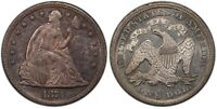 1871 WITH MOTTO SEATED DOLLAR PCGS AU 58 EXCELLENT STRIKE LUSTER AND ORIGINALITY