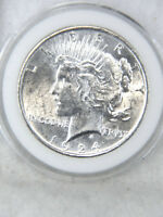 1924 P PEACE DOLLAR AU/BU BLAST WHITE WITH STRONG LUSTER 689V