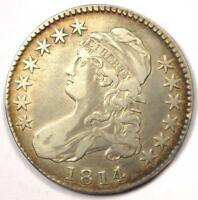 1814/3 CAPPED BUST HALF DOLLAR 50C - SHARP DETAILS -  OVERDATE COIN