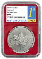 2019 CANADA 1 OZ SILVER MAPLE LEAF $5 NGC MS69 FDI RED CORE HOLDER SKU55714