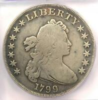 1799 DRAPED BUST SILVER DOLLAR $1 - CERTIFIED ICG VG8 DETAILS -  COIN
