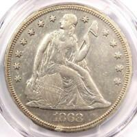 1868 SEATED LIBERTY SILVER DOLLAR $1 - PCGS EXTRA FINE  DETAILS -  CERTIFIED COIN