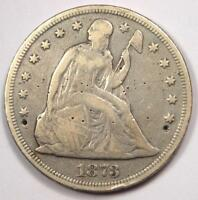 1873 SEATED LIBERTY SILVER DOLLAR $1 - VF DETAILS -  EARLY TYPE COIN